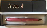 Ручка подарочная A-149 шариковая поворотка, розовый металл в футляре, синяя