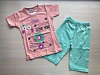 """Пижама детская """"Птичка с ромашками"""" для девочки от 1 до 3 лет персикового цвета"""