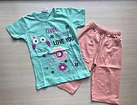 """Пижама детская """"Птичка с ромашками"""" для девочки от 1 до 3 лет мятного цвета"""