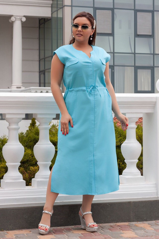Красивое  Платье   48,50,52  лен  Цвета - на фото