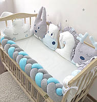 """Бортики """"Зверята"""" в детскую кроватку, серый с голубым"""
