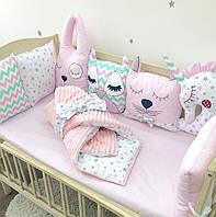 """Комплект """"Зверята"""" в детскую кроватку с бортиками на четыре стороны"""