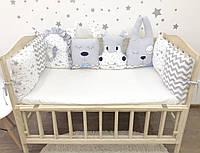 Бортики-зверята и подушки на 3 стороны кроватки