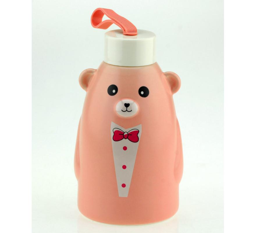 Термобутылка 33 wishes Gentle Bear розовая, бутылка медвежонок (HD-231C)