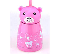 Термос Мишка веселый, розовый цвет