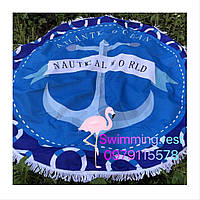 Коврик пляжное покрывало Якоря подстилка микрофибра махра круглое полотенце 150 см с бахромой