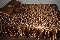 Атласное покрывало Евро размера шоколадное