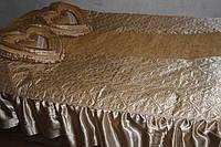 Атласне покривало Євро розміру Alaska бежевого кольору