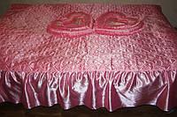Атласне покривало Євро розміру Alaska рожеве