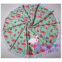 Коврик пляжное покрывало Фламинго Арбуз подстилка микрофибра махра круглое полотенце 150 см с бахромой