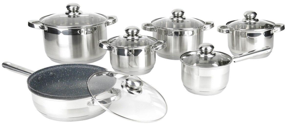 Набір кухонного посуду Rossner MM106T 12 елементів каструлі, сковорода, сотейник з кришкою