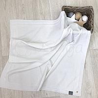 Детский плед «Рогожка» 80х100 см из хлопка для мальчиков и девочек. Белый, фото 1