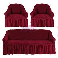 Комплект чехлов на диван и 2 кресла. Цвет бордо