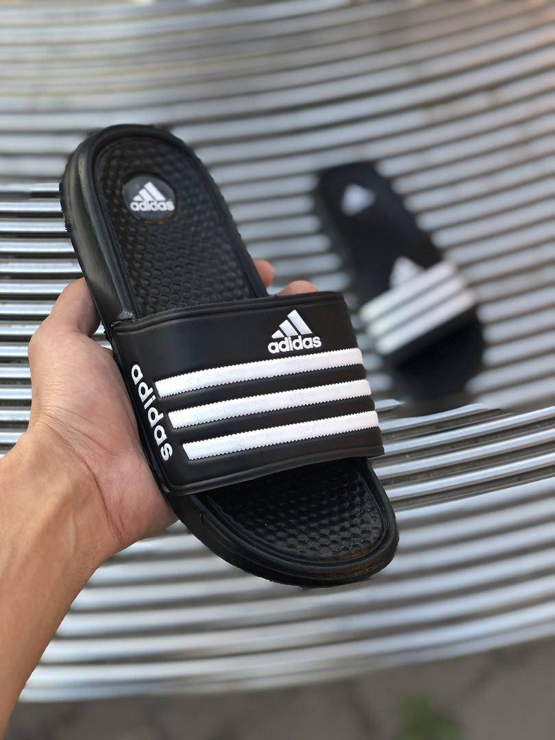Мужские сланцы в стиле Adidas (black/white), сланцы Адидас, шлепанцы Адидас (Реплика ААА)