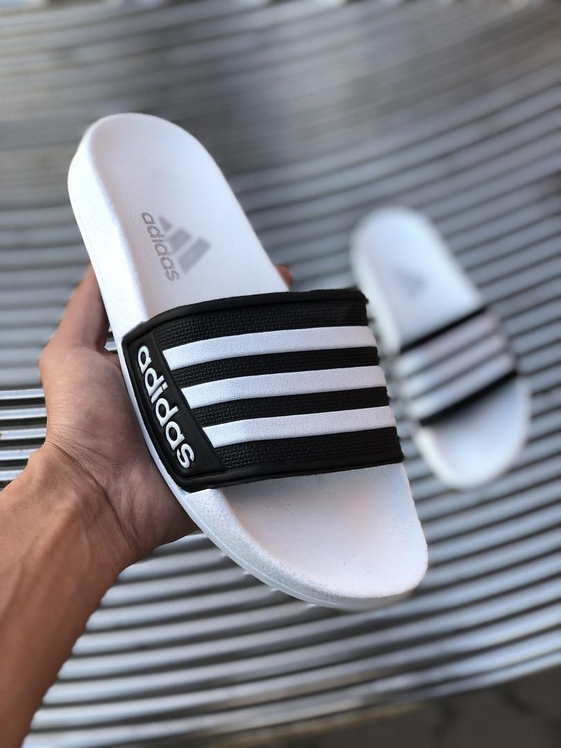 Мужские сланцы в стиле Adidas (white/black), сланцы Адидас, шлепанцы Адидас (Реплика ААА)