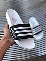 Мужские сланцы в стиле Adidas (white/black), сланцы Адидас, шлепанцы Адидас (Реплика ААА), фото 1