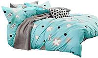 Комплект постельного белья Хлопковый Сатин NR C1299 Oulaiya 8036 Синий
