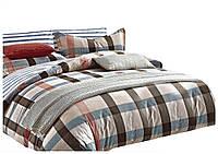 Комплект постельного белья Хлопковый Сатин Двухсторонний NR C1201 Oulaiya 5965 Бежевый, Коричневый