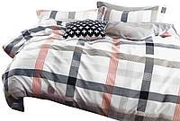 Комплект постельного белья Хлопковый Сатин Двухсторонний NR C1310 Oulaiya 8654 Белый, Серый