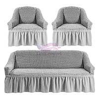 Комплект чехлов на диван и 2 кресла. Цвет серый, фото 1