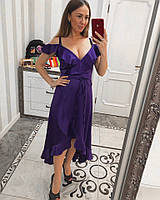 Фиолетовое женское атласное платье