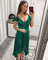 Зеленое женское вечернее платье из атласа