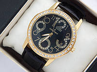 Высококачественные кварцевые наручные часы Continent на кожаном ремешке. Золотистые со стразами., фото 1