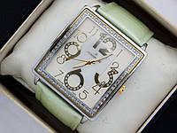 Кварцові наручні годинники Continent прямокутної форми на шкіряному ремінці. Сріблясті зі стразами., фото 1
