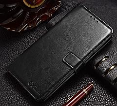 Кожаный чехол-книжка для Xiaomi Redmi Note 7 черный