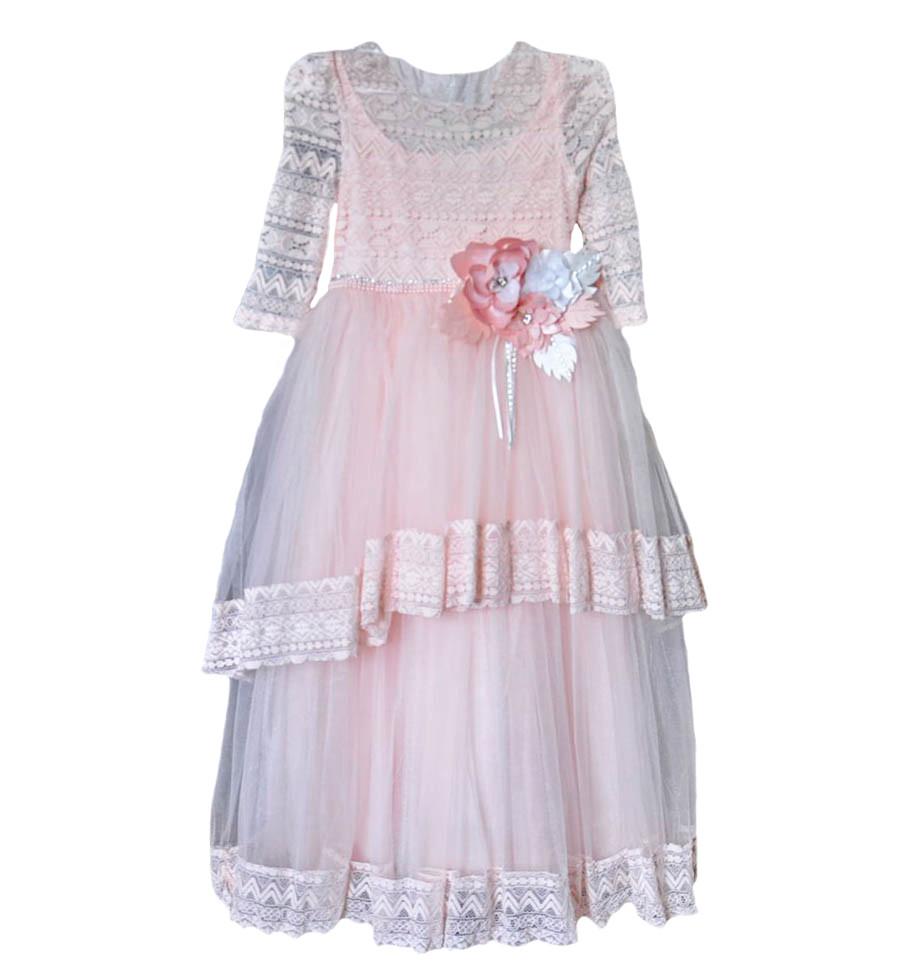 Платье вечернее розового цвета Miss Rain для девочки, Helena Kids