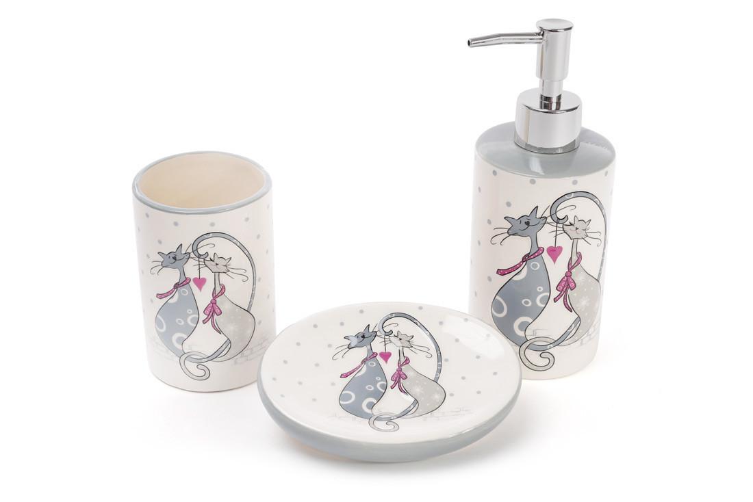Набір для ванної керамічний з об'ємним малюнком Закохані коти:диспенсер,мильниця,стакан, DM940-L