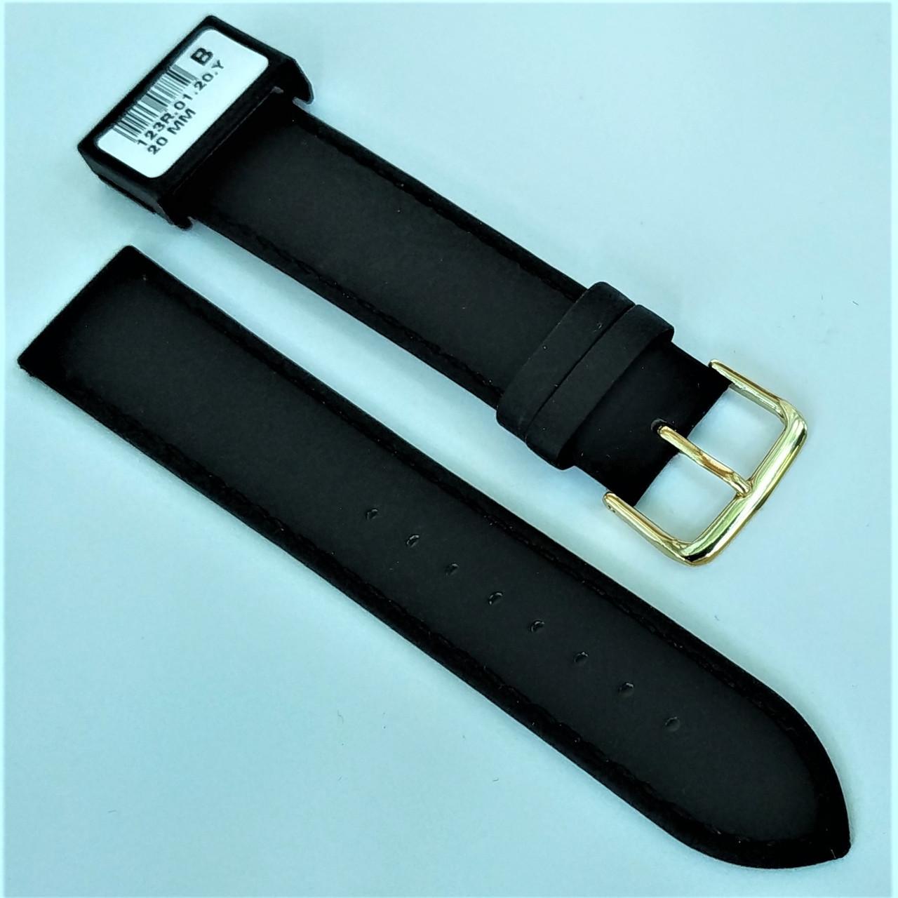 20 мм Кожаный Ремешок для часов CONDOR 123.20.01 Черный Ремешок на часы из Натуральной кожи
