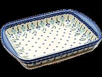Прямоугольная форма для выпечки и запекания керамическая средняя 34 х 26 с ушками Forget-me-not, фото 1