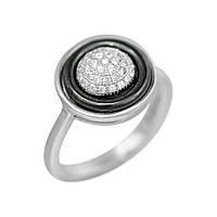 Серебряное кольцо Британи с черной керамикой и фианитами 000081537 17.5 размер