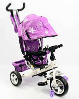 Велосипед трехколесный с ручкой для мамы детский Best Trike фиолетовый