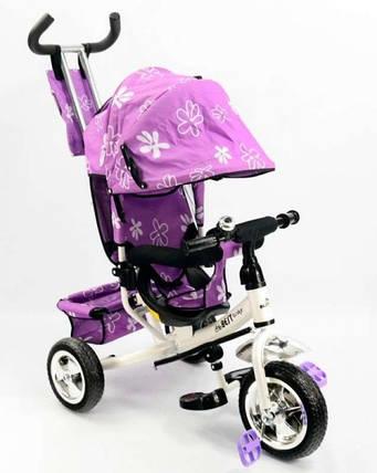 Велосипед трехколесный с ручкой для мамы детский Best Trike фиолетовый, фото 2