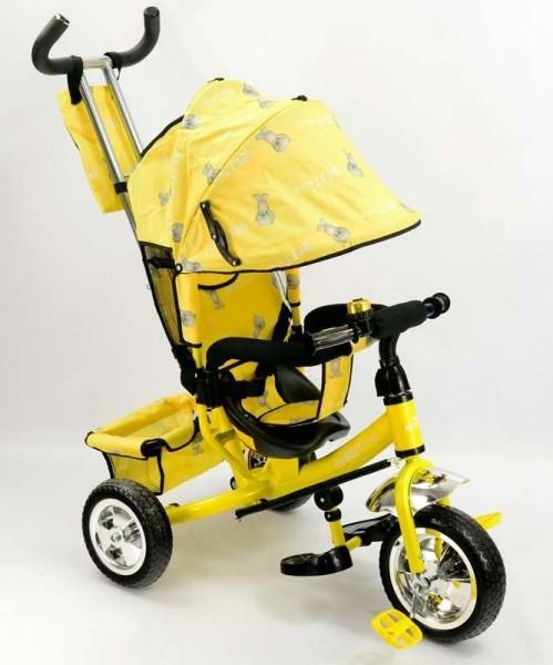 Велосипед трехколесный с ручкой для мамы детский Best Trike желтый