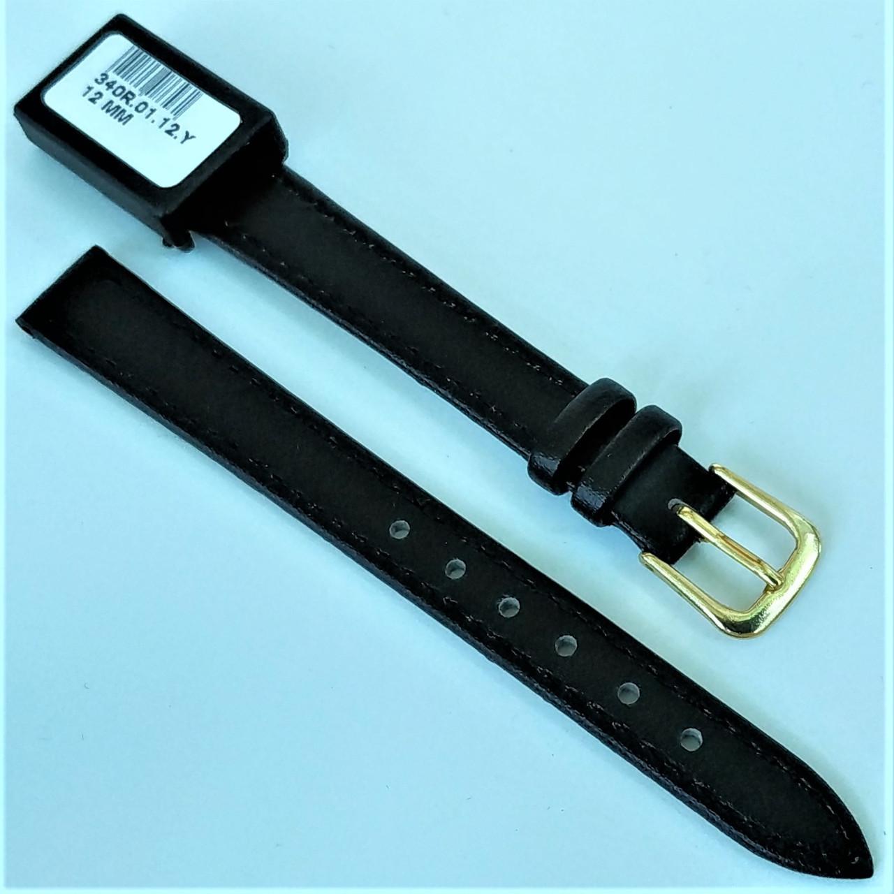 12 мм  Кожаный Ремешок для часов CONDOR 340.12.01 Черный Ремешок на часы из Натуральной кожи