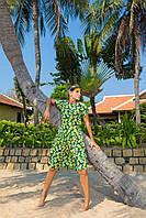Платье шифоновое с оборками яркий принт 5529, 42