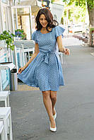 Летнее голубое платье с расклешенной юбкой принт горошек 5530, 46