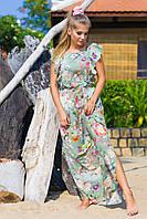 Платье макси из стрейч шифона оливковое цветочный принт 5531, 42