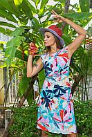 Платье летнее с драпировкой флористичный принт 5533, 42