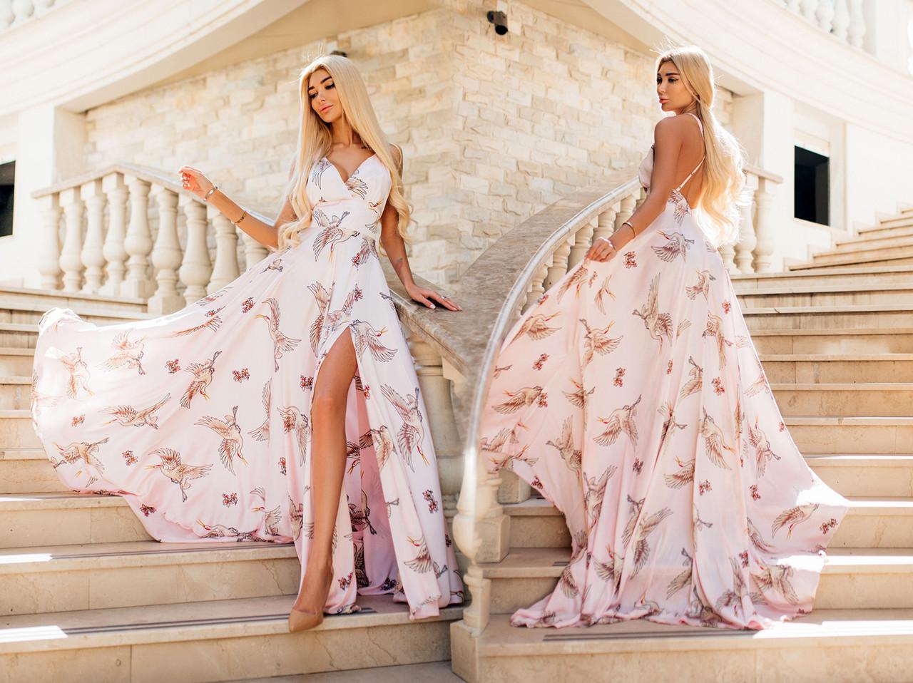 """Шикарное длинное вечернее платье с открытой спиной 0247 """"Шлейф Армани Птицы"""" в расцветках"""