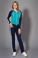 Женский спортивный костюм. Код модели КС-12. Цвет темно синий с бирюзой.