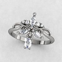 Кольцо серебряное Мираж с подвесом