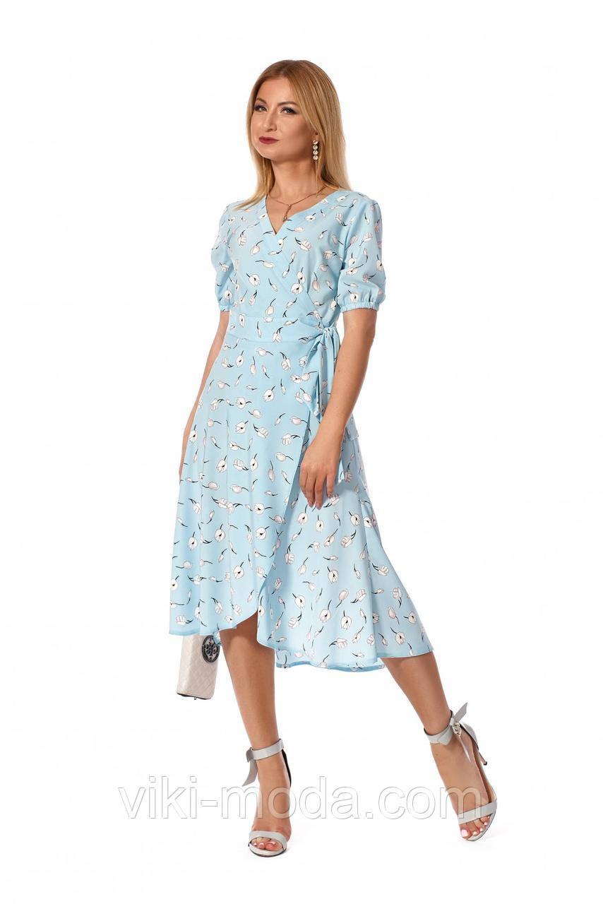 Повседневное летнее платье в романтическом стиле, ткань софт, голубого цвета