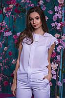 Стильна і ошатна жіноча шифонова блуза декорована брошкою (білий) Арт-2531/64, фото 1