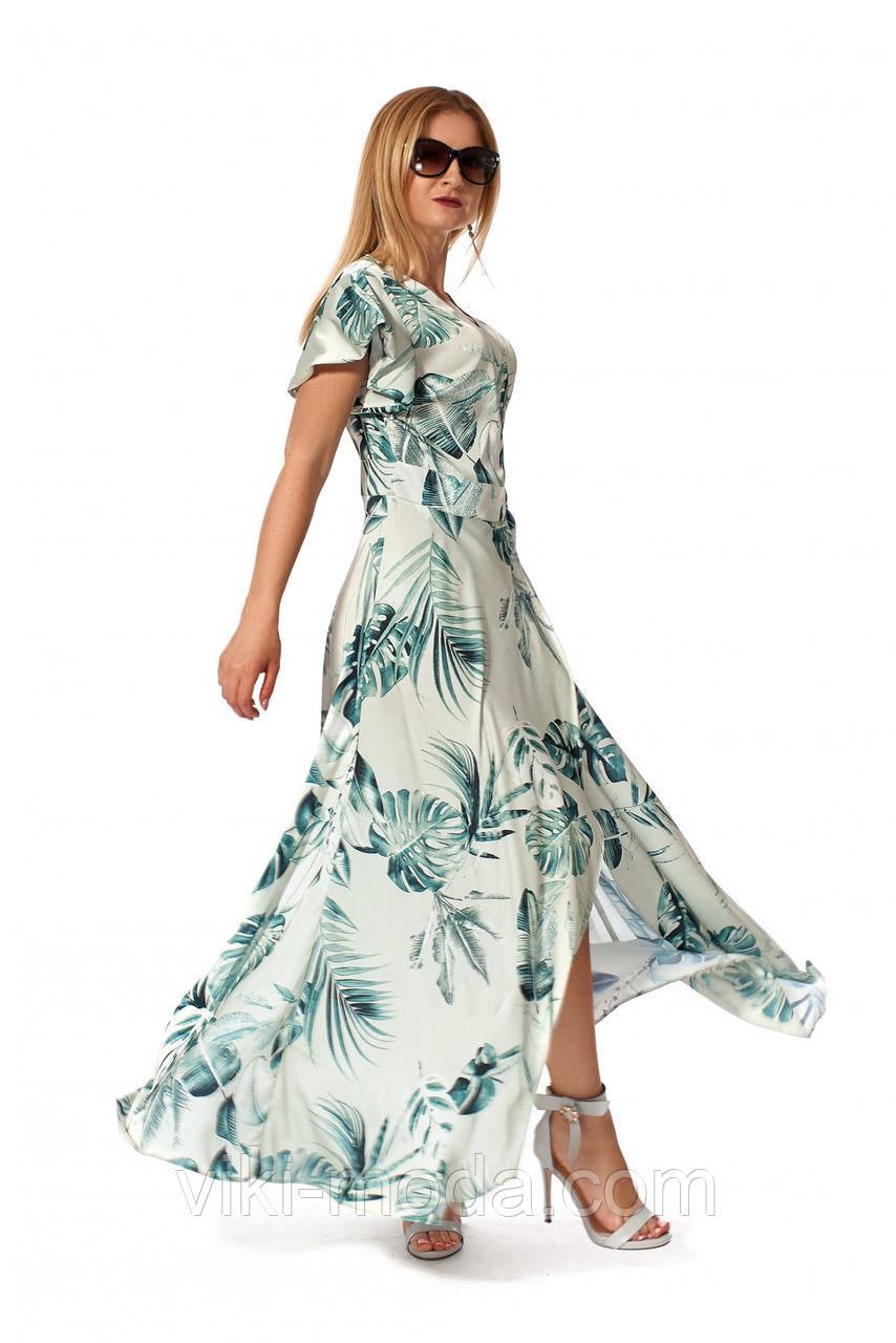 Романтическое, женское платье в пол из шелка, зеленого цвета