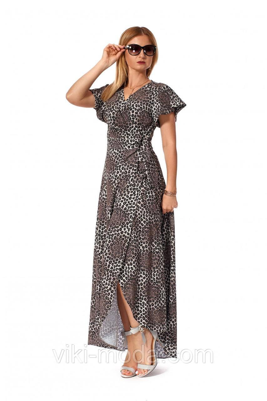 Летнее, женское платье в пол из софта, принт тигр серый