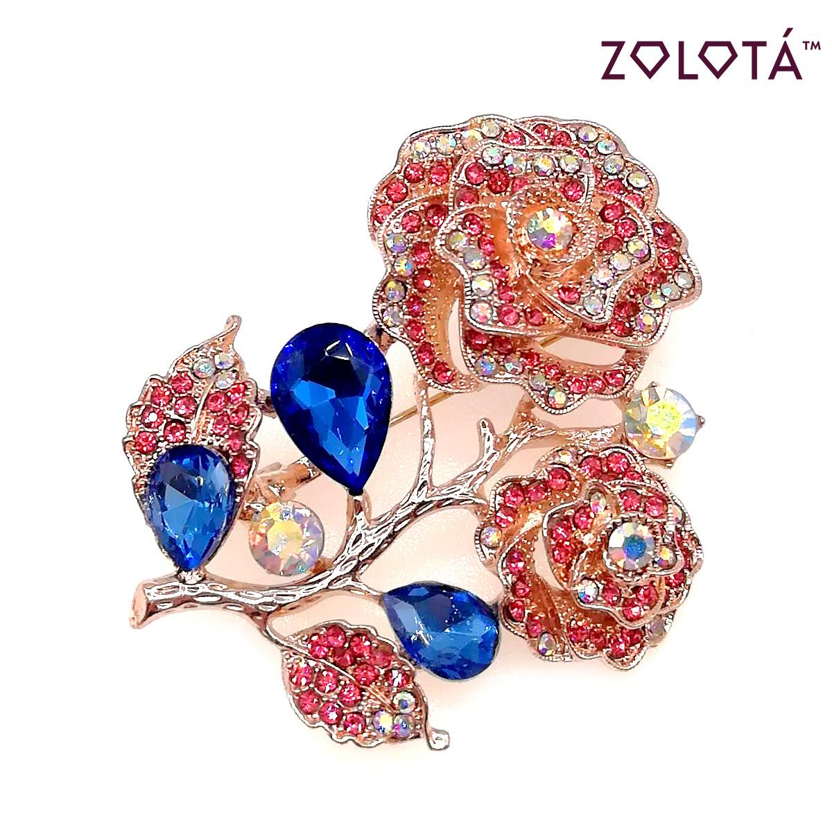 """Брошка """"Роза"""" с разноцветными фианитами (куб. цирконием), в позолоте, ЗЛ00272 (1)"""